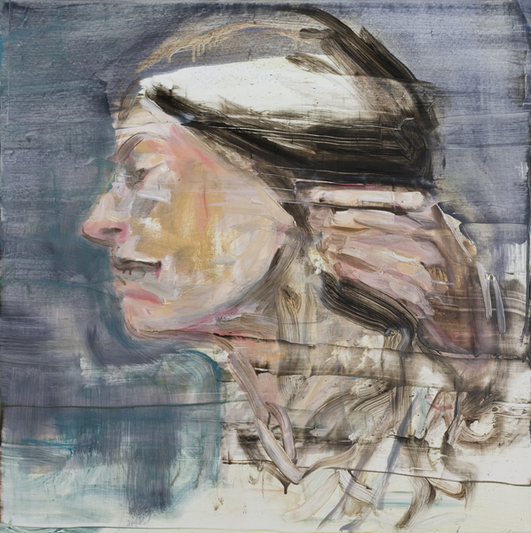 Female's head with hand, 2014, Öl auf Leinwand 80cm x 80cm