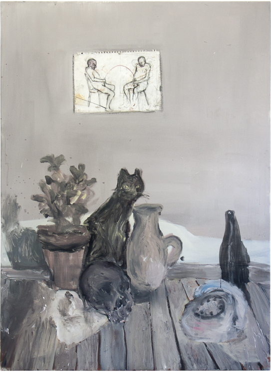 Still life with vase of basil, human cranium, cat, jug, bottle, telephone and philosophic      paint on the wall, 2016, acrylic, drawing on paper, primer on canvas, 180 x 130 x 6cm