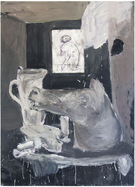 """Still life with a wrong painting on the wall and a lot of trophies on the table"" 2016, acrylic, cement, drawing on paper, primer on canvas"