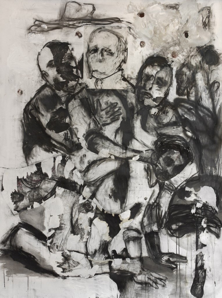Prova d'orchestra, 2015,pastell, charcoal, spray, acrylic, paper, drawing by P. Dolzan, on paper, mounted on canvas, 220 x 150 x 3cm