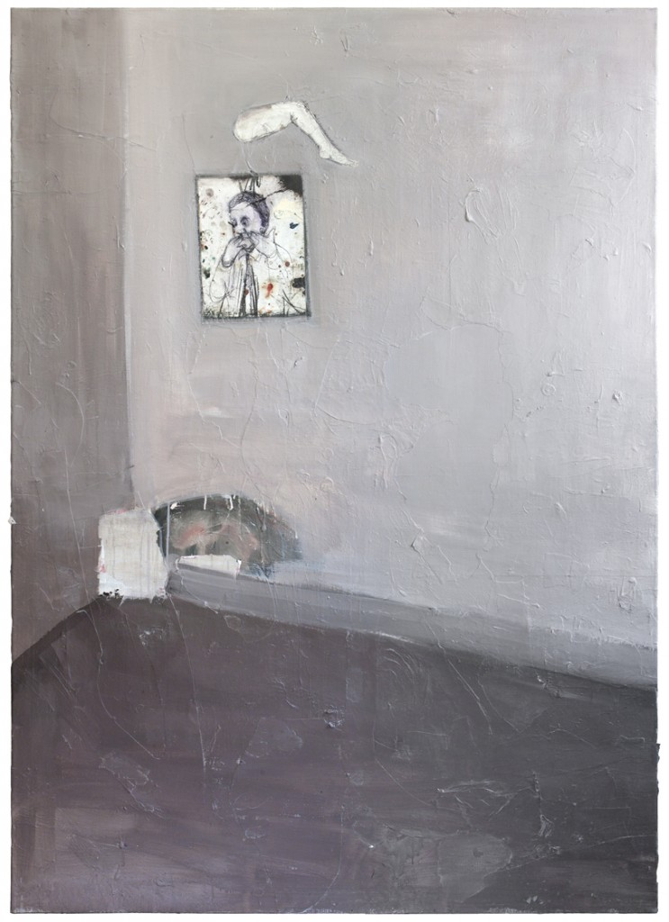 Still life with a wrong painting lose its leg and a little cat sleeping, 2016, acrylic, paper, drawing on paper, plaster, primer on canvas 180 x 130 x 6cm